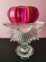 Vintage Lucite Fuschia Clear And Mottled Stretch Bracelet