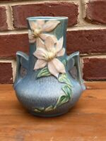 "Vintage Roseville Pottery Blue Clematis Handled Vase Bottom Marked 106 7"" U.S.A"