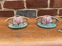 Vintage Roseville Pottery Pink Clematis Handled CandleHolder Marked U.S.A