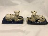 New Antique Staffordshire Style Pair of Laying Dogs Dalmations Decor