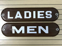 Vintage Ladies amp; Men Restroom Porcelain Enameled Wood Grain Signs Gas Station