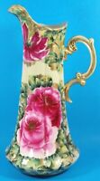 Antique Unmarked Large Nippon Pitcher Hand Painted Roses 16