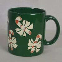 Waechtersbach Mug Cup Green Candy Cane Christmas Tree Holiday Bows Germany EUC