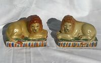 New Antique Staffordshire Style Pair of Lion Figurines Decorations Home Decor