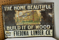 Awesome Antique Build it of Wood Fredonia Lumber Co. Tin Tacker Sign 20 x 14