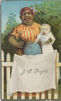 Antique 1890s Trade Card Black Americana Nanny Babysitting by White Picket Fence