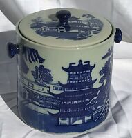 New Antique Staffordshire Style Blue And White Biscuit Barrel Ironstone Jar Pot