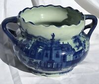 New Antique Staffordshire Style Blue And White Large Planter Pot Home Decor
