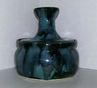 Vintage DRYDEN ARK POTTERY DISH In A BLUE Splatterware Design With Matching LID