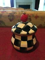 MacKenzie-Childs Courtly Check Enamel Sugar Bowl with Lid , NEW