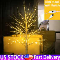 LED Christmas Birch Tree Warm White Pre Lit Twig Light Decor Indoor Outdoor USB