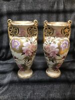 Pair Antique German Royal Bonn Hand Painted and Gilt Floral 16.5 Inch Vases