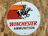 VINTAGE WINCHESTER PORCELAIN SIGN GAS OIL PUMP PLATE SERVICE STATION COWBOY GUN