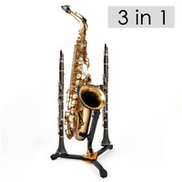 Folding Saxophone Tripod Stand Holder For Alto Tenor Sax w/ Two Clarinet Stand
