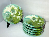 Set of 6 Antique French Majolica Asparagus & Artichoke Serving Plates Luneville