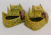 2p Lot Vintage Shawnee Pottery Old Grist Water Mill Planter 769 green