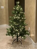 4ft Pre-lit Frasier Pine Artificial Christmas Tree With Metal Stand