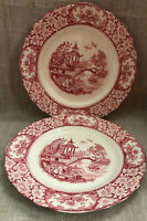 Olde Alton Ware Hampton Ivory England Red Transfer Ware Set Of 2 Plates 8 2/3""
