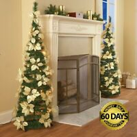 Decorated White Poinsettia Pop-up Christmas Tree - Pre-Lit Pull Up Collapsible