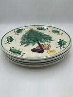 4 Hand Painted Ceramic Christmas Tree Dinner Plates Made in ITALY
