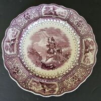Antique ADAMS circa 1835 CALEDONIA SCOTTISH PLATE: Purple Transferware 10.75