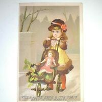 Late 1800s Trade Card Lautz Bros. Soap Victorian Girl Pushing Doll in Stroller