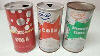 Lot of 3 Vintage Co-Op Soda Cans Pull Tab Punch Top Cola & Lemon Lime 10oz Rare