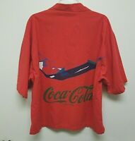 Vintage COCA COLA BRAND CLOTHES Shirt RELAX IN THE SHADE Man Hammock Red 100% L