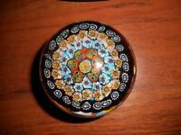 Vintage Glass Paperweight Millifiori Murano Italy Blues and Oranges
