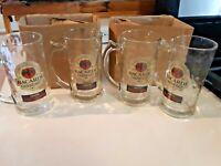 Set of 4 Bacardi Oakheart Spiced Rum Dimpled Clear Glass Beer Mug Stein Bar Wear