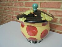 Droll Designs Large Covered Bowl or Tureen w Apples Grapes 10