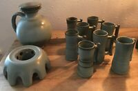 Frankoma Pottery Coffee Carafe with Lid, Warmer & 8 Demitasse Mugs Woodland Moss