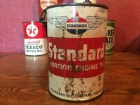 Vintage STANDARD AVIATION Oil Can Metal FULL 1955 RARE Aero Aircraft Airplane