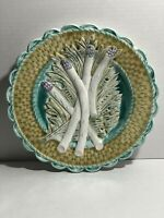 Antique French Majolica Asparagus Plate Serving Dish Salins-les-Bains