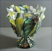VINTAGE CZECH GLASS MULTI-COLOR ELONGATED SPATTER VASE WITH VERTICAL RIBS