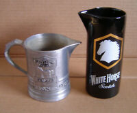 Vtg. The White Horse Cellar Scotch Whiskey Metal Tankard Pitcher Mug + Pitcher