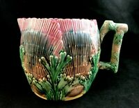 🟢 Antique Griffin Smith & Hill Etruscan Majolica SHELL & SEAWEED Pitcher