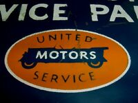 RARE 1932 Vintage UNITED MOTORS AC PARTS Old Gas Station Tin Display Sign
