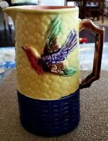 ANTIQUE 19TH CENTURY ENGLISH MAJOLICA PITCHER WITH BIRDS YELLOW