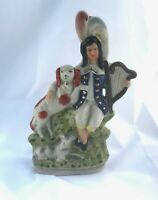 New Antique Staffordshire Style Harp Player with Dog Home Decor Accent Porcelain