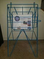 Vintage Blue Folding Metal Wire Newspaper Stand Store Display Rack