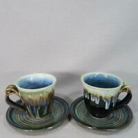 Bill Campbell Art Pottery Cups & Saucers with Signature Glaze - FREE SHIPPING
