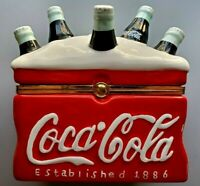 Porcelain Coca Cola Ice Chest Made for Houston Harvest Gift Products Nice 💖👀