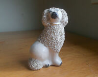 1850s ORIGINAL EARLY STAFFORDSHIRE CHINA POODLE DOG FIGURINE SANDED TEXTURE