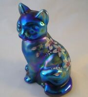 Vtg Fenton Art Glass Carnival Blue Opalescent Sitting Cat Figure R. Dehuart HP