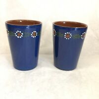 2 Vtg Alsace Soufflenheim French Pottery Cobalt Blue White Flowers Cups Tumblers