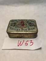 Vintage Tin The Lady's Own Toilet Pin Box  W/ Pins Victorian