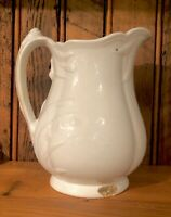 Antique White English Ironstone Pottery Pitcher Lily of the Valley W Baker Co