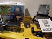Eagle fish easy fish finder bundle, battery, charger, transducer suction mount