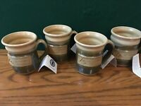 Set of 4 NEW Hand Thrown Rustic 12 oz Coffee Mugs Signed Green Earth Outdoors